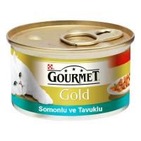Gourmet Gold Somonlu ve Tavuklu Kedi Konservesi 85g 24 lü