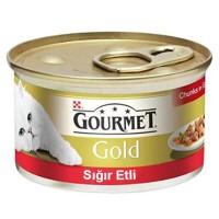 Gourmet Gold Parça Etli Soslu Sığır Etli Kedi Konservesi 85g 24 lü