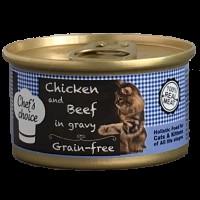 Chefs Choice Soslu Tavuk ve Sığır Etli Tahılsız Kedi Konservesi 80 Gr