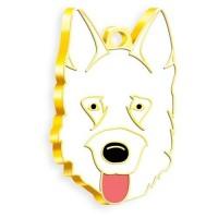 24 Ayar Altın Kaplama Alman Kurdu Köpek Künyesi (Beyaz)