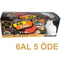 Chefs Choice Soslu Ton Balığı ve Midyeli  Tahılsız Kedi Konservesi 6 Al 5 Öde
