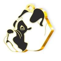 24 Ayar Altın Kaplama Boxer Köpek Künyesi (Beyaz)