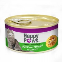 Happy Paws Ördek ve Hindi Etli Soslu Yetişkin Kedi Konservesi 80 Gr