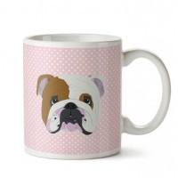 English Bulldog Pembe Porselen Kupa