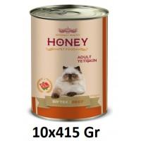Honey Premium Biftekli Yetişkin Kedi Konservesi 415 Gr (10 Adet)