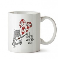 Pet Lovers Aşk Kedisi Tasarım Porselen Kupa