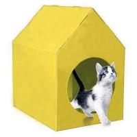 Happy Paws Su Geçirmez Kedi Evi Sarı 45x35x46 Cm