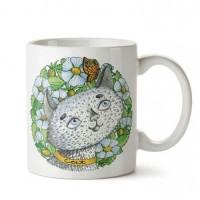 Doğayı Koklayan Kedi Tasarım Porselen Kupa