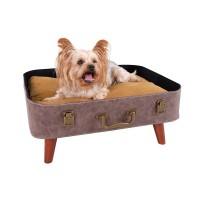 İbiyaya Vintage Retro Suitcase Pet Bed Bavullu Karyola Kedi Ve Köpek Yatagı Kahverengi