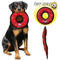 *Tuffy Ultimate Ring Red Paw Pati Desenli Peluş Halka Şeklinde Köpek Oyuncağı Kırmızı