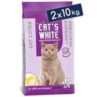 Cats White Lavanta Kokulu Topaklaşan Doğal Bentonit Kedi Kumu 12 Lt 10 Kg (2 Adet)