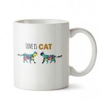 Love is Cat Tasarım Porselen Kupa