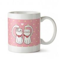 Kedi Aşkı Tasarım Porselen Kupa