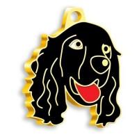24 Ayar Altın Kaplama Cocker Köpek Künyesi (Siyah)