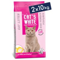 Cats White Bebek Pudrası Kokulu Topaklaşan Doğal Bentonit Kedi Kumu 12 Lt 10 Kg (2 Adet)