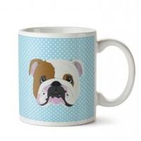 English Bulldog Mavi Porselen Kupa