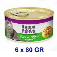 Happy Paws Ördek ve Hindi Etli Soslu Yetişkin Kedi Konservesi 80 Gr (6 Adet)