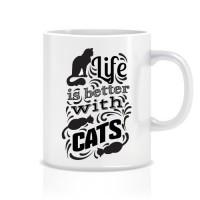 Hayat Kedilerle Daha Güzel Porselen Kupa