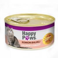 Happy Paws Somon Balıklı ve Soslu Yetişkin Kedi Konservesi 80 Gr