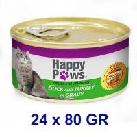 Happy Paws Ördek ve Hindi Etli Soslu Yetişkin Kedi Konservesi 80 Gr (24 Adet)