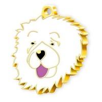 24 Ayar Altın Kaplama Çin Aslanı Köpek Künyesi (Beyaz)
