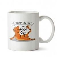 Aşağı Bakan Kedi Tasarım Porselen Kupa