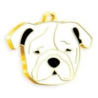 24 Ayar Altın Kaplama Bulldog Köpek Künyesi (Beyaz)