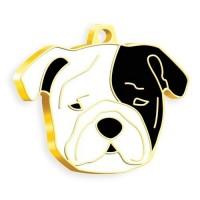 24 Ayar Altın Kaplama Bulldog Köpek Künyesi (SiyahBeyaz)