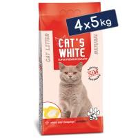 Cats White Kokusuz Topaklaşan Doğal Bentonit Kedi Kumu 6 Lt 5 Kg (4 Adet)