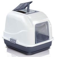 Imac Easy Cat Kapali Filtreli Kedi Tuvaleti Beyaz/Lacivert 50X40X40 Cm
