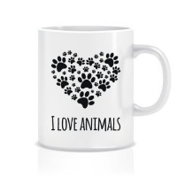 Hayvanları Seviyorum Porselen Kupa