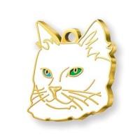 24 Ayar Altın Kaplama Mavi Yeşil Gözlü Van Kedisi Kedi Künyesi