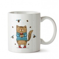Kahverengi Kedi Tasarım Porselen Kupa