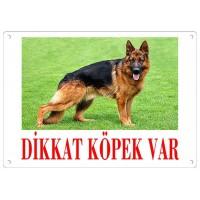 Dikkat Köpek Var Uyarı Levhası (Renkli Alman Kurdu)