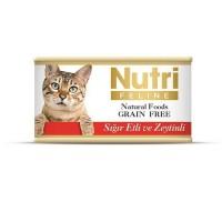 Nutri Feline Sığır Etli Ve Zeytinli Tahılsız Yetişkin Kedi Konservesi 85 Gr