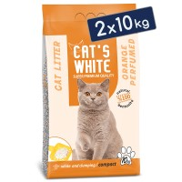 Cats White Portakal Kokulu Topaklaşan Doğal Bentonit Kedi Kumu 12 Lt 10 Kg (2 Adet)