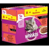 Whiskas Pouch Multipack Etli Çeşitler Karışık Konserve Kedi Maması 12x100 gr (12'li Paket)