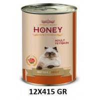 Honey Premium Biftekli Yetişkin Kedi Konservesi 415 Gr (12 Adet)