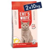 Cats White Kokusuz Topaklaşan Doğal Bentonit Kedi Kumu 12 Lt 10 Kg (2 Adet)