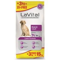 La Vital Dog Adult Maxi Büyük Irk Kuzu Etli Yetişkin Köpek Mamasi 12 Kg+3 Kg Hediyeli
