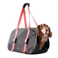 İbiyaya Foldable Pet Travel Carrier Köpek Taşıma Çantası Kırmızı