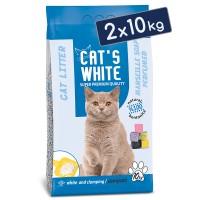 Cats White Marsilya Sabun Kokulu Topaklaşan Doğal Bentonit Kedi Kumu 12 Lt 10 Kg (2 Adet)